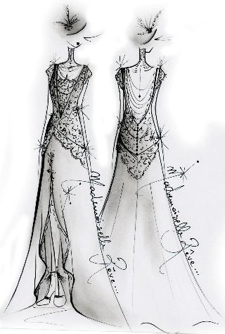 croquis de mademoiselle reve, créatrice de robe de mariée à grenoble, Priscillia Hervier