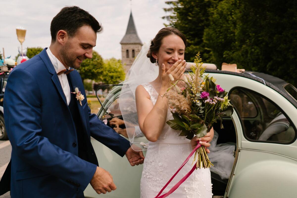 arrivée de la mariée, firts look, priscillia hervier, photographe clermont